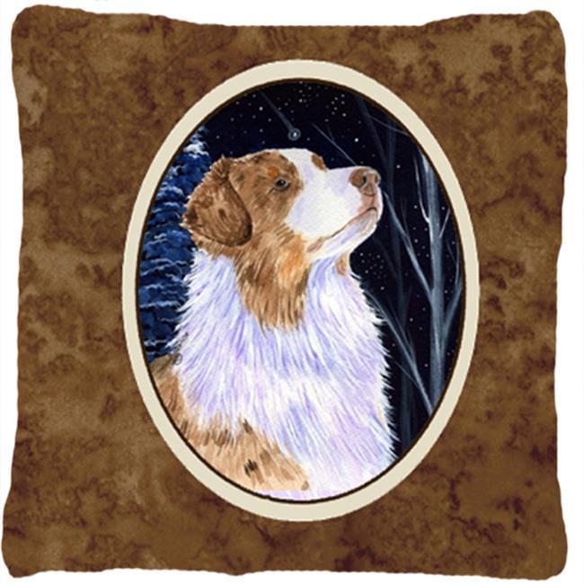 Carolines Treasures SS8375PW1414 Starry Night Australian Shepherd Decorative Indoor & Outdoor Fabric Pillow - image 1 of 1