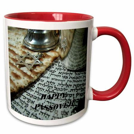 3dRose Matzoh Hebrew nStar Of David Passover - Two Tone Red Mug, 11-ounce
