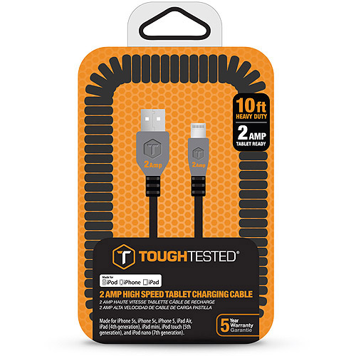 ToughTested Heavy Duty 2 AMP USB Coiled Cable for iPhone, 10'