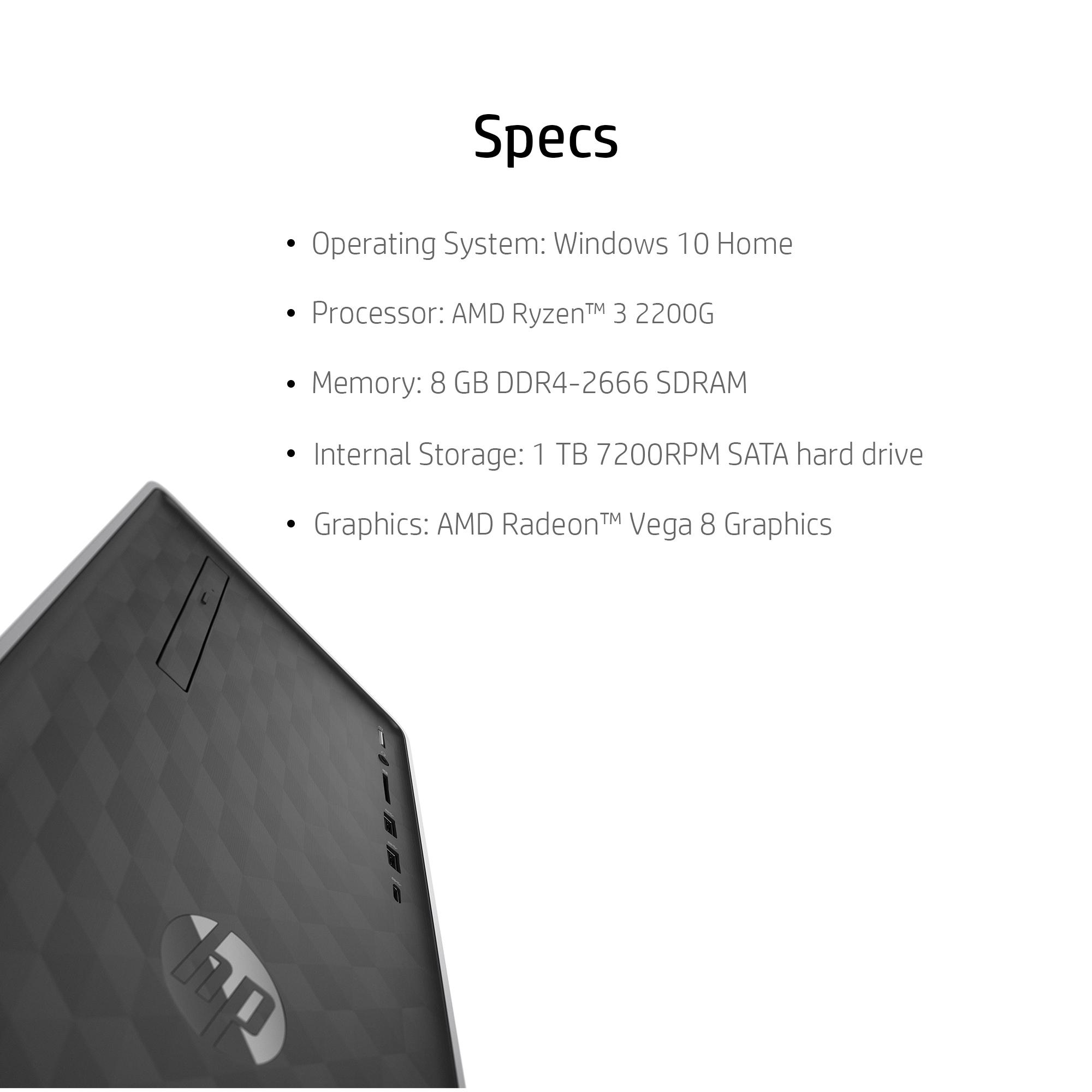 Hp Desktop And 23 8 Monitor Bundle Amd Ryzen 3 2200g Amd Radeon Vega 8 Graphics 8gb Sdram 1tb Hdd Dvd 590 P0103wb Walmart Com Walmart Com
