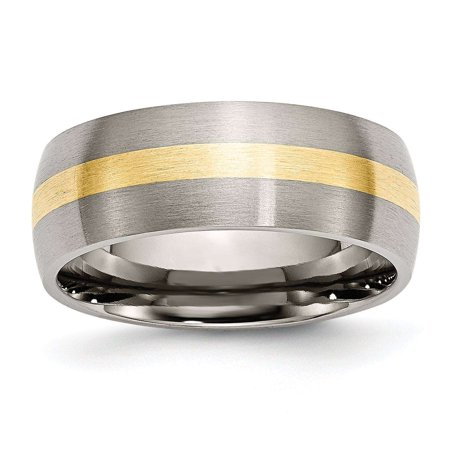 Titanium 14k Gold Inlay Rings (Titanium 14k Yellow Gold Inlay 8mm Brushed Wedding Band Size)