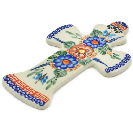 Polish Pottery 7½-inch Cross (Spring Splendor Theme) Signature UNIKAT Hand Painted in Boleslawiec, Poland + Certificate of