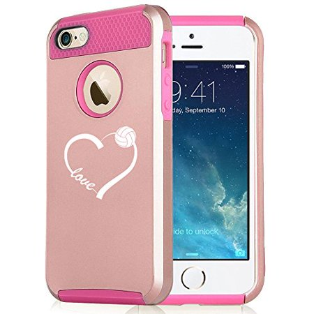 For Apple iPhone 5 5s Rose Gold Shockproof Impact Hard Soft Case Cover Love Heart Volleyball (Rose Gold-Hot - Gold Heart Pin
