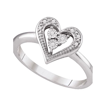 10kt White Gold Womens Round Diamond-accent Heart Cluster Ring .03 Cttw - image 1 of 1
