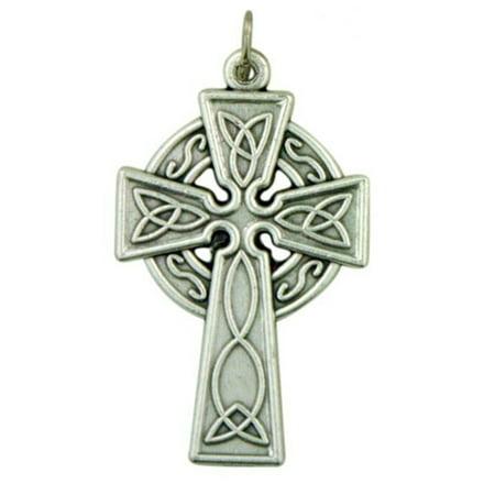 Silver Tone Irish Celtic Trinity Knot Cross Pectoral Pendant, 1 1/4 (Womens Trinity Cross)