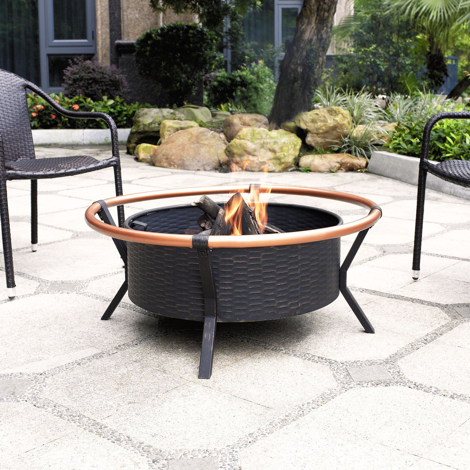 Crosley Yuma Copper Ring Firepit, Black