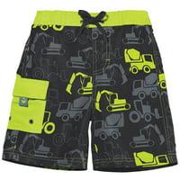Sun Smarties Baby Boy Swim Diaper - Grey and Lime Green Truck Theme - Swim Diaper Trunks, Size 12 Month (20-23 lbs.)