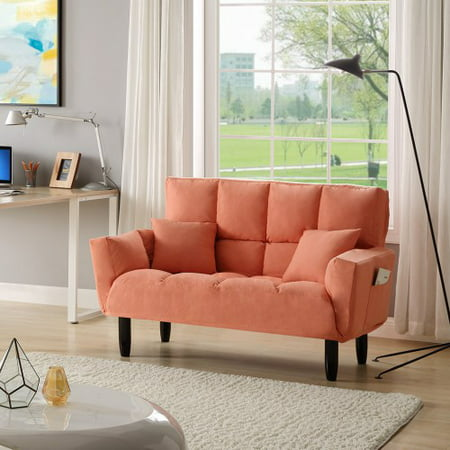 Modern Round Arm Tufted Sleeper Sofa, Premium Polyester Blend Sofa Couch, Upholstered Sofa Couch, Home Sleeper Furniture, Reclining Sofa for Living Room Dining Room