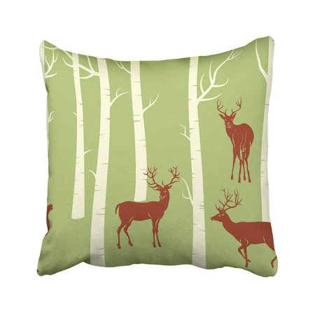 BPBOP Green Tree Deers Change The Color Is One Click Of Mouse Birch Forest Trunk Animal Cartoon Pillowcase Throw Pillow Cover Case 18x18 inches