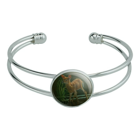 White-Tailed Fawn Alert Baby Deer Novelty Silver Plated Metal Cuff Bangle Bracelet