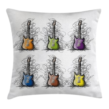 Halloween Choir Songs (Music Decor Throw Pillow Cushion Cover, Sketchy Lined Colored Design Guitar Collage for Teens Rocker Song Lovers Image, Decorative Square Accent Pillow Case, 16 X 16 Inches, Multicolor, by)