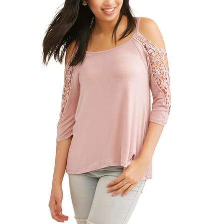 3102f86be48759 Juniors  Crochet Cold Shoulder Blouse - Walmart.com