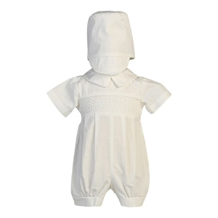 Baby Boys White Smocked Cotton Romper Baptism Christening Set - Baptism Or Christening