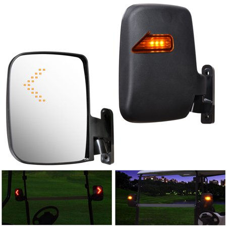 Yescom 2pcs Universal Golf Cart Rear View Folding Side Mirror with LED Indicators Fits for EZGO Club Car Yamaha