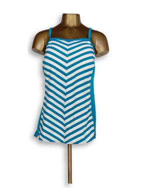 Denim & Co. Plus Sz 20 Beach Stripe Tankini Top with Blue A304228