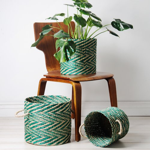 Bungalow Rose Sea Grass 3 Piece Wicker/Rattan Basket Set
