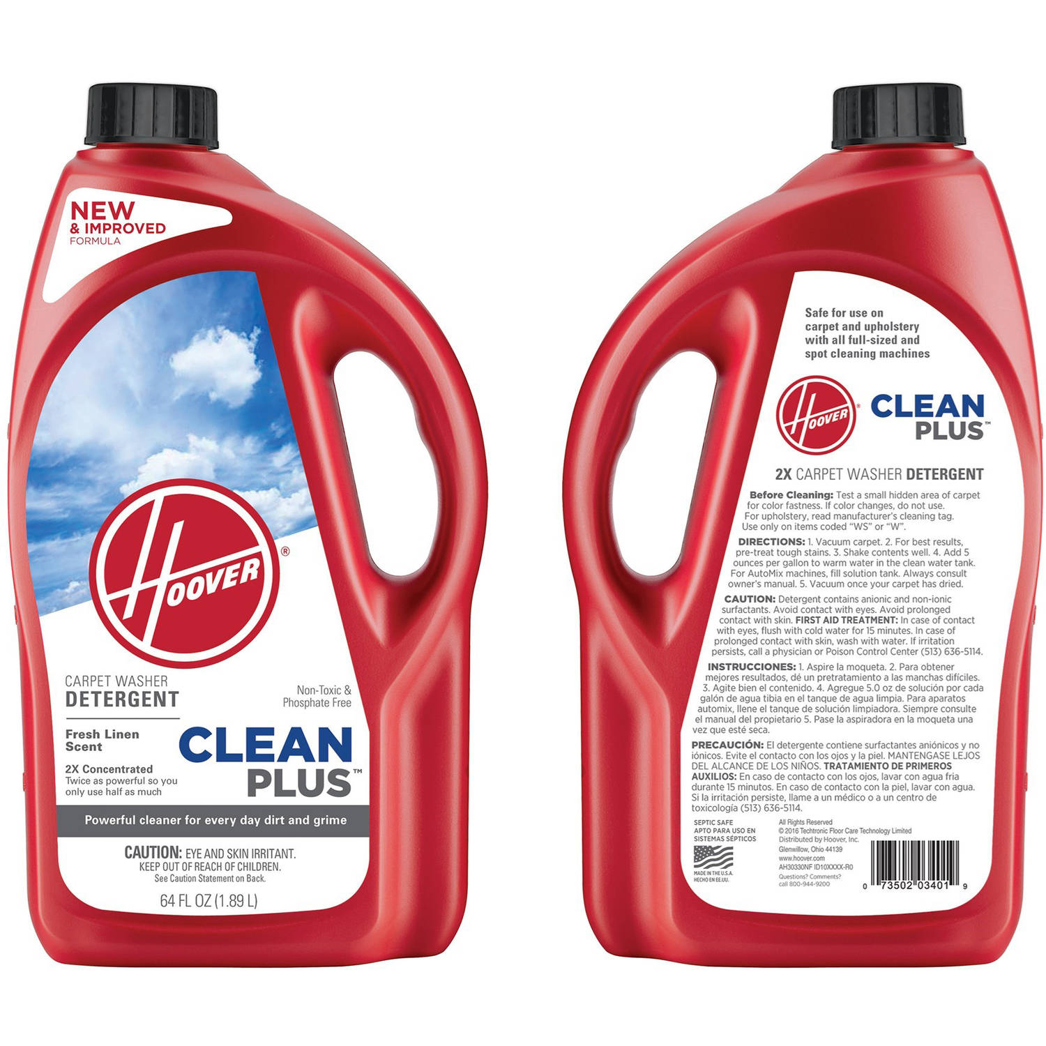 Hoover 2X CleanPlus Carpet Cleaner & Deodorizer 64 oz, AH30330NF