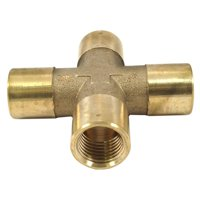 forney 75365 brass cross, 4-way, 1/4-inch female npt, 150 psi