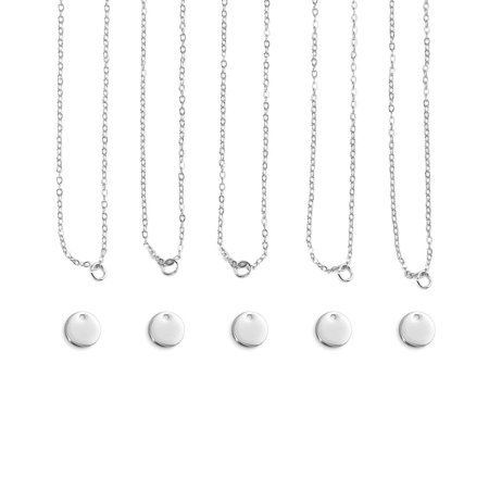 Personal Impressions Necklace Kit, Small Circle, Silver Plated, Includes: 5 necklaces (blanks and chains) and 1 practice blank By ImpressArt (Personal Necklaces)