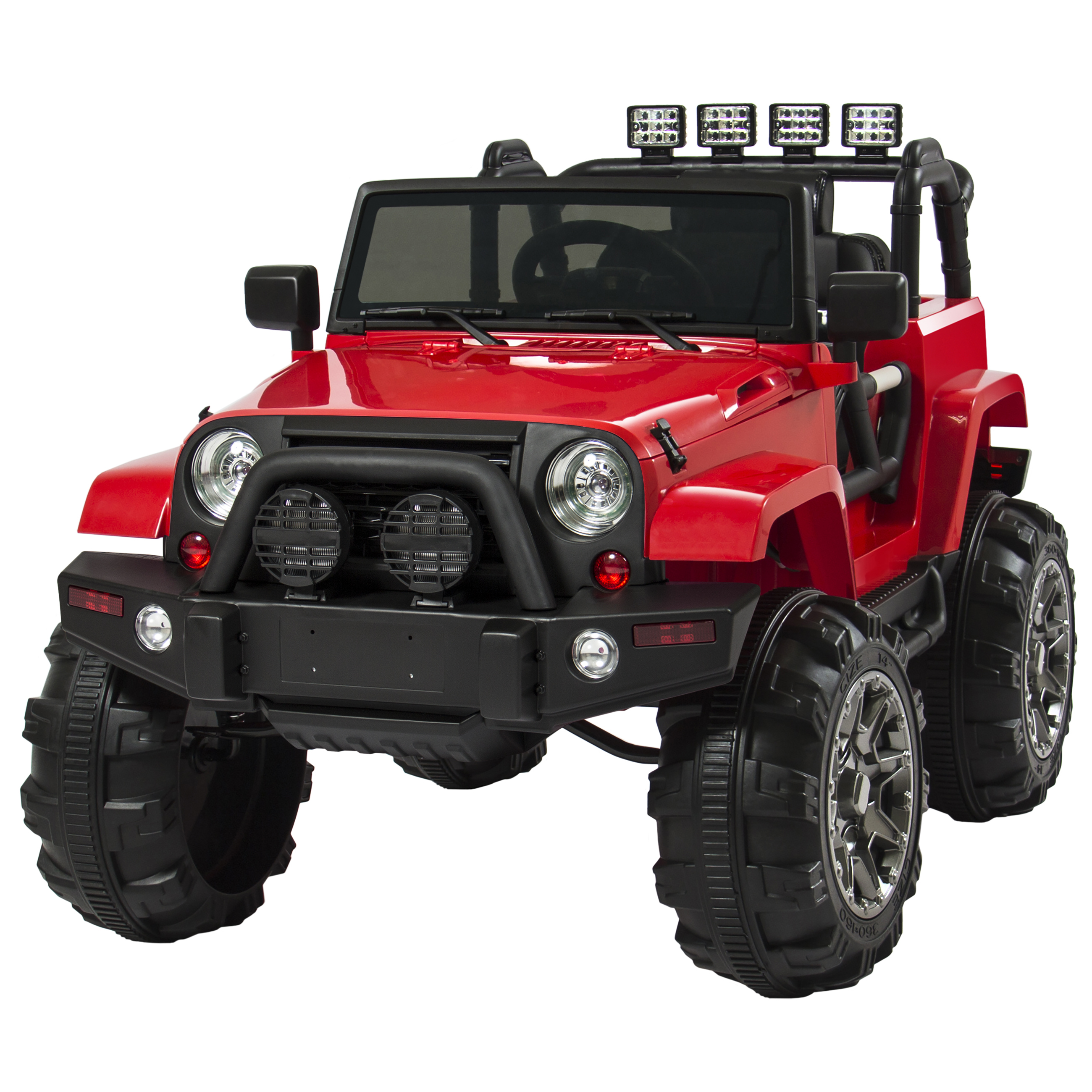 12V Ride On Car Truck W/ Remote Control, 3 Speeds, Spring Suspension, LED Lights, Red