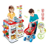 Mundo Toys Supermarket Play Set With Shopping Cart, Cash Register and Electronic Scanner