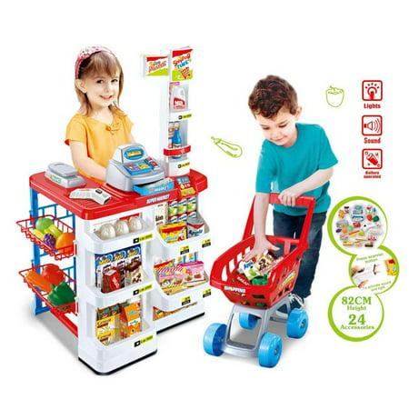 Supermarket Play Set w/Shopping Cart, Cash Register, Electronic Scanner, Balance of trade, fruits, vegetables, boxes, bottles, stickers and (Best Bottles To Register For)