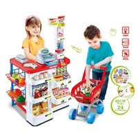 Supermarket Play Set w Shopping Cart, Cash Register, Electronic Scanner, Balance of trade, fruits, vegetables, boxes, bottles, stickers and more!
