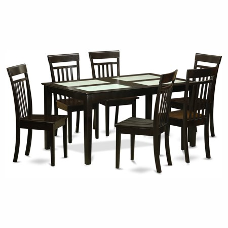 Surprising East West Furniture Capri 7 Piece Glass Top Rectangular Dining Table Set With Wooden Seat Chairs Download Free Architecture Designs Scobabritishbridgeorg