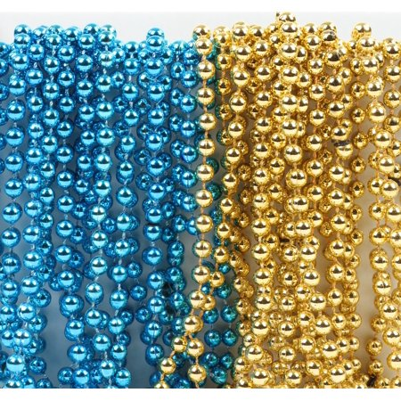 Mardi Gras Plastic Bead Necklaces Duo Shower Baptism Party Favors and Decorations, Baby Blue and Gold, - Royal Blue And Gold Party Decorations