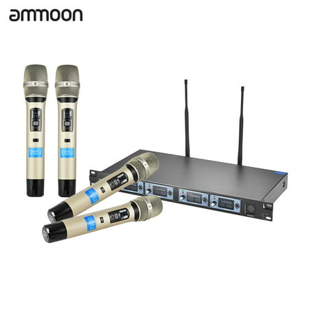ammoon 4D-B Professional 4 Channel UHF Wireless Handheld Microphone System 4 Microphones 1 Wireless Receiver 6.35mm Audio Cable LCD Display