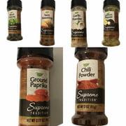 Chili POwder, Ground Paprika, Garlic, Taco Seasoning, Basil Leaves, Lemon Pepper Combo (6 Items)