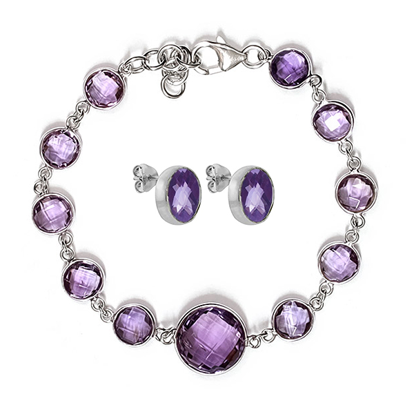 40.00 Ct Purple Amethyst Sterling Silver 8mm to 14mm Bracelet Studs Set by