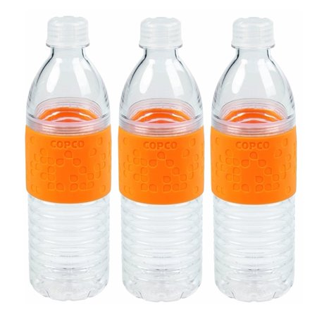 3 Pack Copco Hydra Sports Water Bottle With Non Slip Sleeve - Spill Resistant, BPA Free Plastic, Reusable 16.9 Oz - Orange 3 Pack Sport Slip