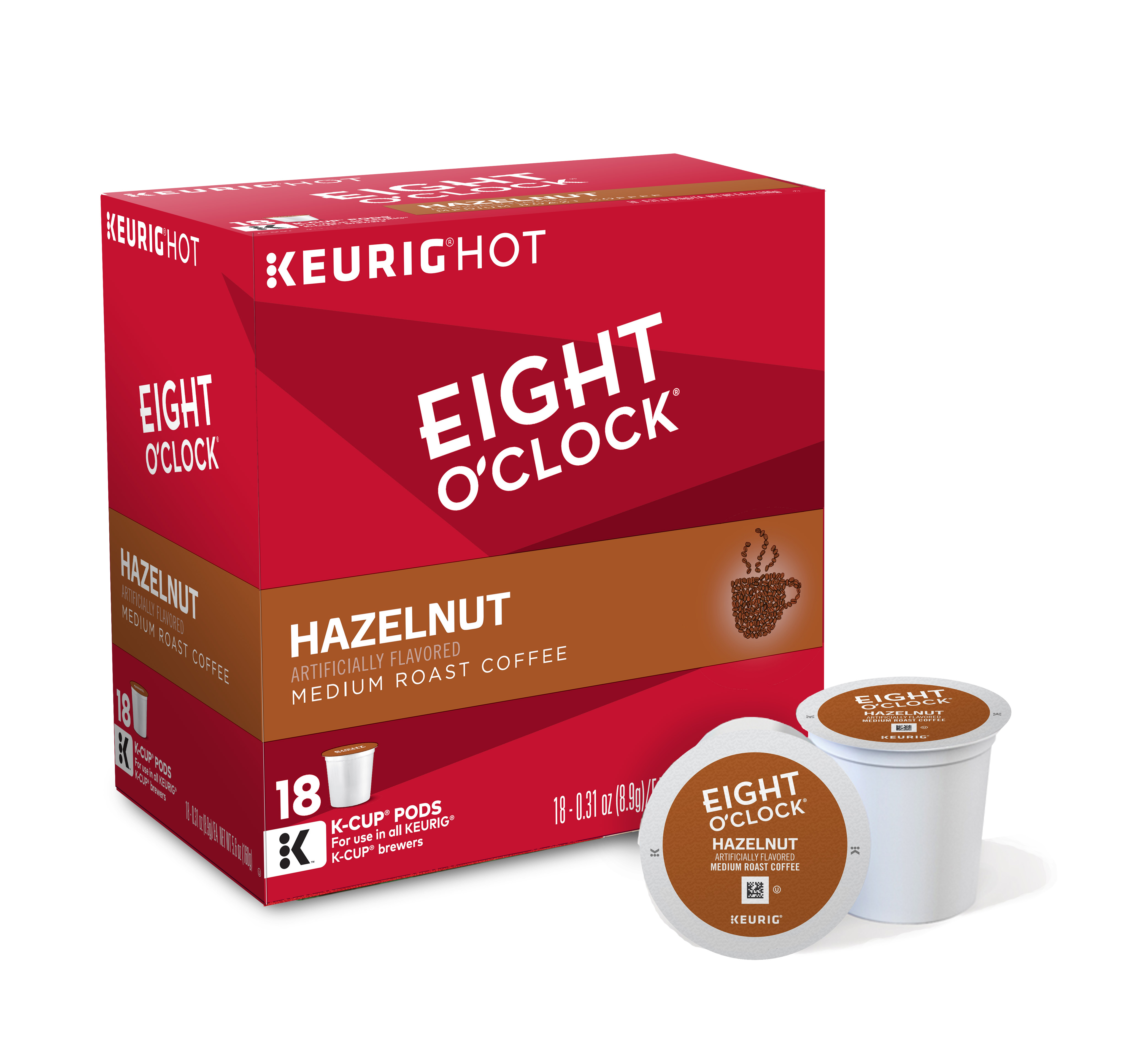 Eight O'Clock Coffee Hazelnut Keurig Single-Serve K-Cup Pods, Medium Roast Coffee, 18 Count
