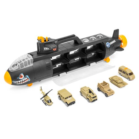 Best Choice Products Military Submarine Shark Car Carrier Toy w/ 6 Military Vehicles And 13