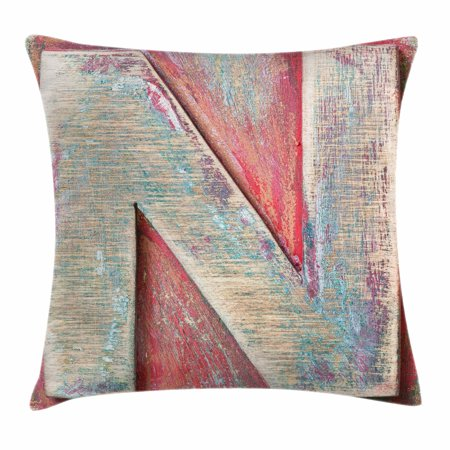 Letter N Throw Pillow Cushion Cover  Sketch Style Colorful N Letter With Soft Featured Grunge Character  Decorative Square Accent Pillow Case  24 X 24 Inches  Dark Coral Ivory Seafoam  By Ambesonne
