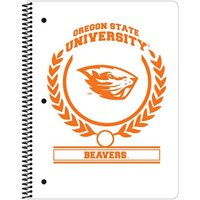"C.R. Gibson 1-Subject Spiral Notebook, College Ruled, Includes 70 Sheets, Measures 8"" x 10.5"" - Oregon State Beavers White"