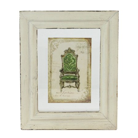 "7.25"" x 6"" Decorative Antique Style Beige and Green Victorian Chair Print Framed Wall Art"