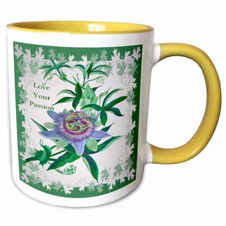 3dRose Passion Flower- gifts for gardeners, birthday, mothers day, gift ideas, wildflower, tennessee - Two Tone Yellow Mug, - Spring Day Ideas