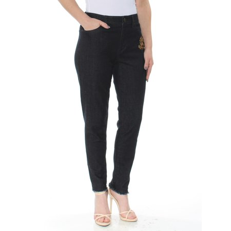 RALPH LAUREN Womens Black Frayed Embroidered Skinny Jeans  Size: 6