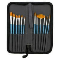 12pc Short Handle Nylon Hair Artist Paint Brush Set Blue Handle w/ Carry Case