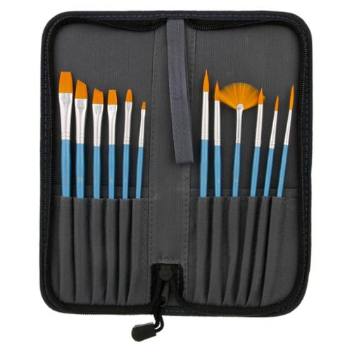 12pc Short Handle Nylon Hair Artist Paint Brush Set Blue Handle w/ Carry Case