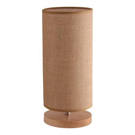 Light Accents Cylinder Table Lamp Wooden Base And Linen