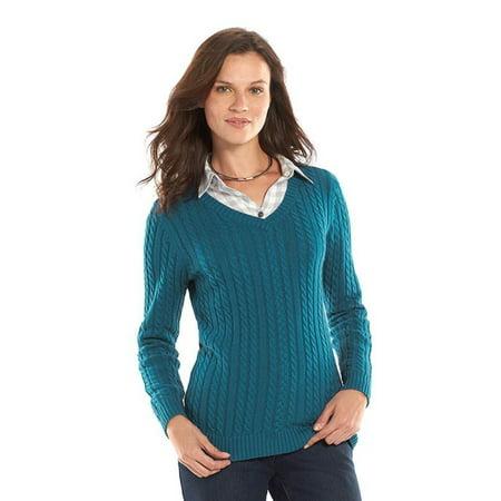 f1f613f989b7b7 Croft   Barrow - Croft   Barrow Essential Women Plus Size Cable Knit V Neck  Sweater 2X Blue - Walmart.com