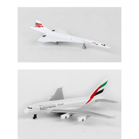 British Airways Concorde, Emirates Airlines Diecast Airplane Package - Two 5.5