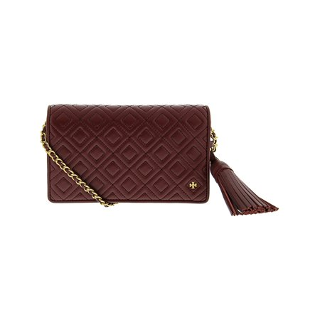 Tory Burch Women's Fleming Flat Wallet Crossbody Leather Cross Body Bag - Imperial (Tory Leather Single)