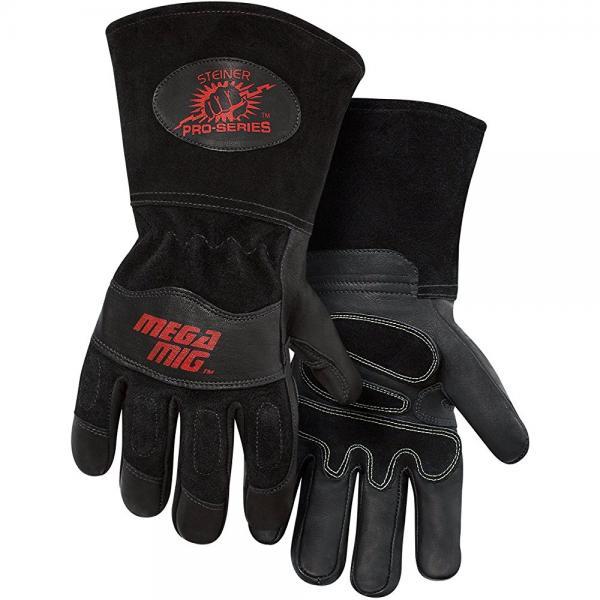 Steiner 0235-M Pro-Series MegaMIG Cotton Lined Heavyweight Grain Goatskin and Split Cowhide Back MIG Welding Gloves with 4.5 Cuff, Medium