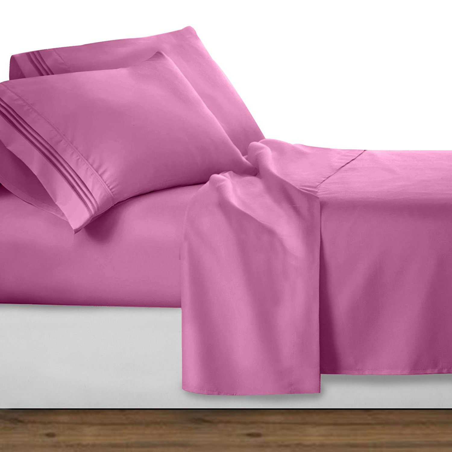 premier 1800 collection 4pc bed sheet set queen size strawberry pink queen size 4pc set. Black Bedroom Furniture Sets. Home Design Ideas