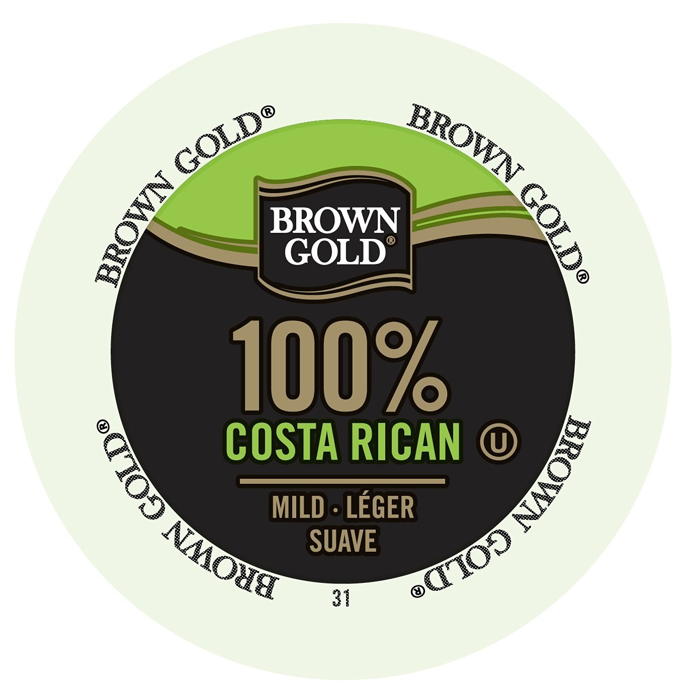 Brown Gold Coffee 100% Costa Rican, RealCup portion pack for Keurig K-Cup Brewers, 96 Count