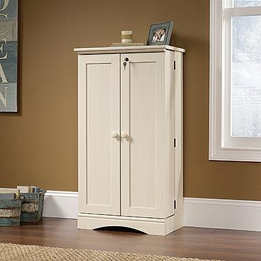 Sauder Harbor View Multimedia Storage Cabinet - Antiqued White